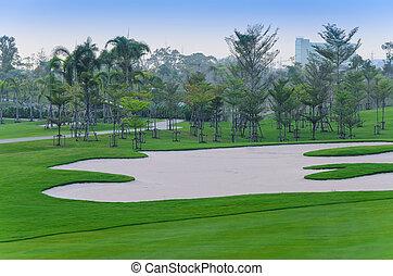 udsigter, i, golf kurs