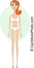 udsigter, kvinde, forside, længde, undertøj, fulde, unge