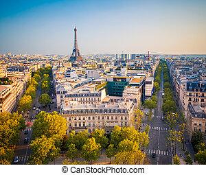 udsigter, på, paris, hos, solnedgang