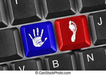 udskrift, i, hånd, og, fod, på, computer nøgle