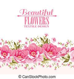 udsmykket, lyserød blomstr, dekoration, hos, tekst, label.