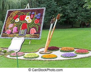 udstilling, i, naturlig, flowers.