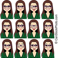 udtryk, kvinde, brunette, glas