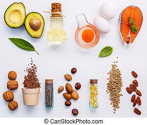 udvælgelse, mad, kilder, i, omega 3