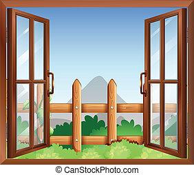 udvar, ablak kilátás