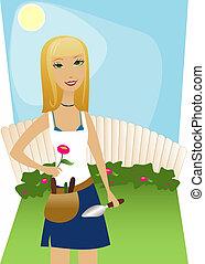 udvar, kertészkedés