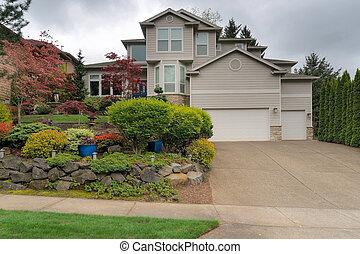 udvar, kert, család, egyedülálló, elülső, otthon