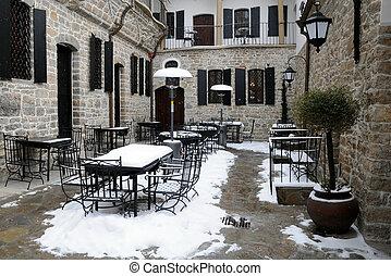 udvar, tél, üres, étterem