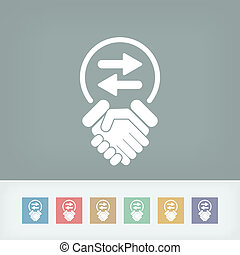 udveksling, aftalen, ikon