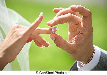 udveksling, i, ringe bryllup