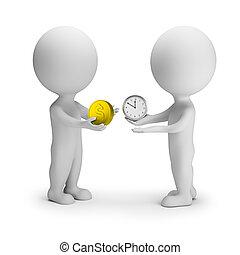 udveksling, penge, folk, -, tid, lille, 3