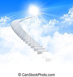 udvide, stige, hvid himmel, klar
