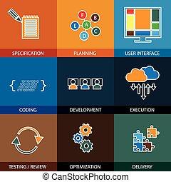 udvikling, begreb, proces, -, vektor, life-cycle, beklæde, ic, softwaren
