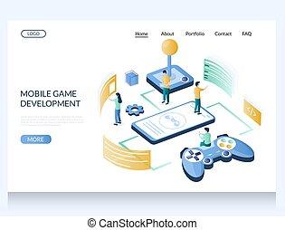 udvikling, boldspil, skabelon, landgangen, side, ambulant, website, konstruktion, vektor