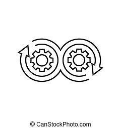 udvikling, lejlighed, cog, firma, concept., devops, illustration, isoleret, baggrund., vektor, pil, hvid, style., ikon