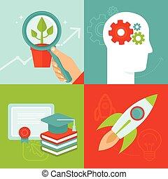 udvikling, lejlighed, firmanavnet, personlig, vektor, begreb