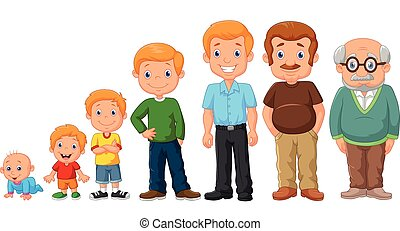 udvikling, stages, cartoon, mand