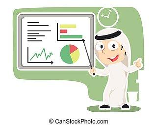 udzielanie, biznesmen, arabski, prezentacja