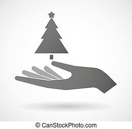 udzielanie, drzewo, boże narodzenie, ręka
