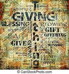 udzielanie, i, tithing, tło