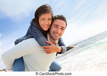 udzielanie, jazda, piggyback, sympatia, plaża, człowiek