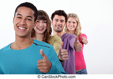 udzielanie, kciuki-do góry, grupa, młodzież