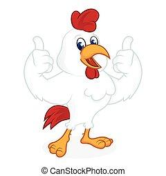 udzielanie, kurczak, kciuki do góry, rysunek