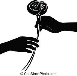 udzielanie, kwiat, ręka