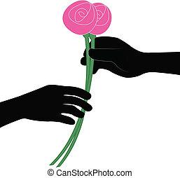 udzielanie, kwiat, wektor, ręka