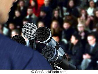 udzielanie, mówiący, mowa, seminarium