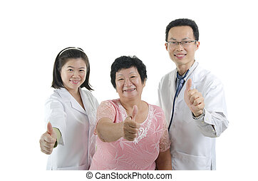 udzielanie, pacjent, do góry, kciuki, doktor