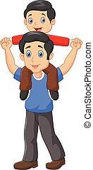 udzielanie, piggyback, jego, ojciec, syn