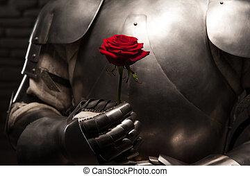udzielanie, rycerz, dama, róża