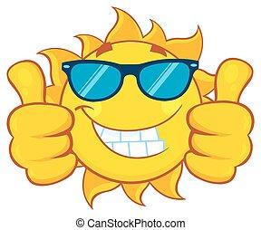 udzielanie, słońce, podwójny, do góry, kciuki