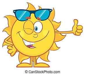udzielanie, słońce, uśmiechanie się, do góry, kciuki