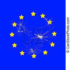 UE broken. - Flag of the european union broken.