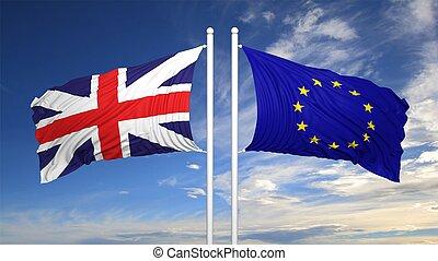 ue, e, britânico, bandeiras