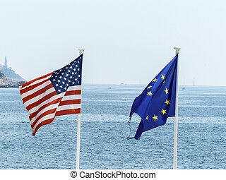 ue, e, nós, bandeiras