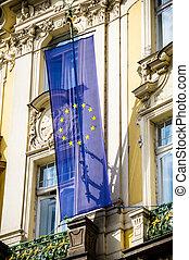 UE flag in Prague