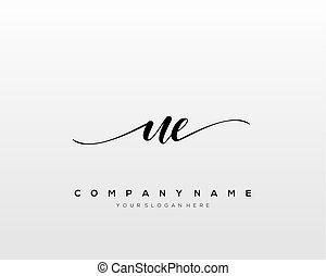 UE Initial Letter handwriting logo hand drawn template ...