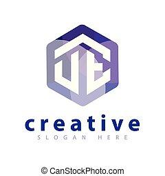 UE Initial letter hexagonal logo vector