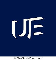 UE Initial Letter logo in negative space vector template
