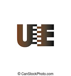 UE Initial Letter with Zip Logo Vector