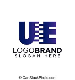 ue Initial letter with zipper logo vector template