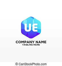 UE initial logo With Colorful Circle template vector - ...