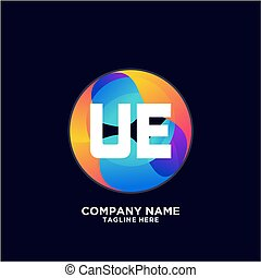 UE initial logo With Colorful Circle template vector. - ...