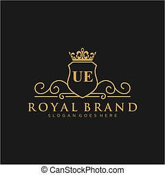 UE Letter Initial Luxurious Brand Logo Template. - Initial ...