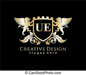 UE Letter Initial with Lion Royal Logo Template - Initial ...