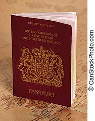 ue, mapa, passaporte, mundo