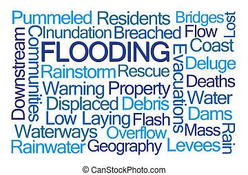 ueberschwemmung, wort, wolke